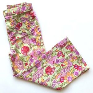 Flapdoodles Colorful Flower  Print Twill Pants